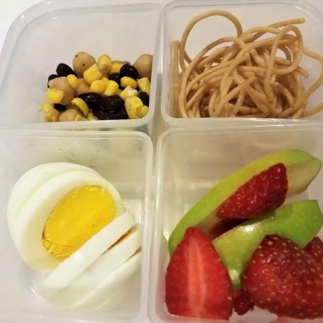 Pasta, egg, bean & corn salsa, and fruit